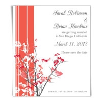 Asian Flowers Save the Date Magnet