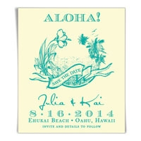 ALOHA Save the Date Wedding Magnet