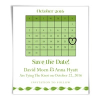 Calendar Green Leaf Save the Date Magnets