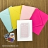 Brighten up your save the date magnets with colorful envelopes.  Small magnet holder also shown.  Postage not included.