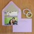 Purple Lace envelopes shown here with return address printing, divine twine, and the medium Blissful magnets